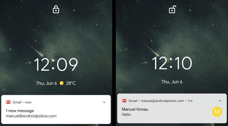 Google научила Android открывать текст уведомлений только владельцу