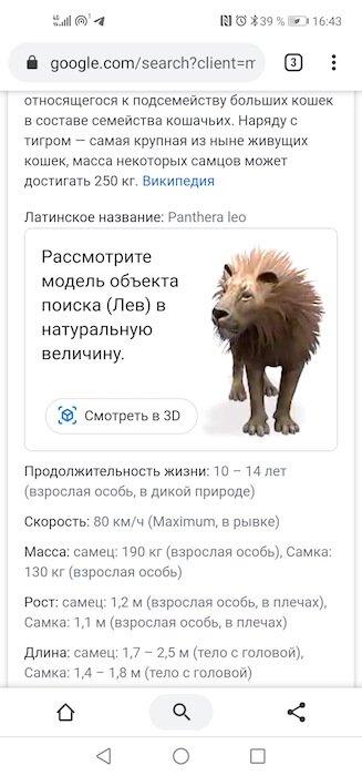 Как со смартфона смотреть животных в 3D из Google